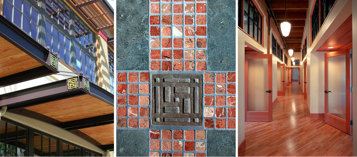photo collage of details of the porter glisan building in the pearl district redeveloped by venerable properties
