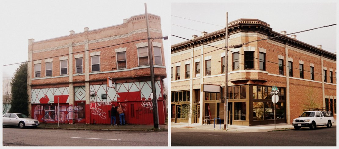 before and after photos of the rinehard building rehabilitation in portland a venerable preservation consulting project