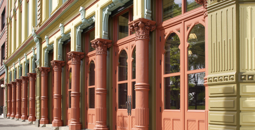 Saved cast-iron columns on Bickel Building