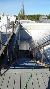 Second stairway to the roof deck goes in above the auditorium.
